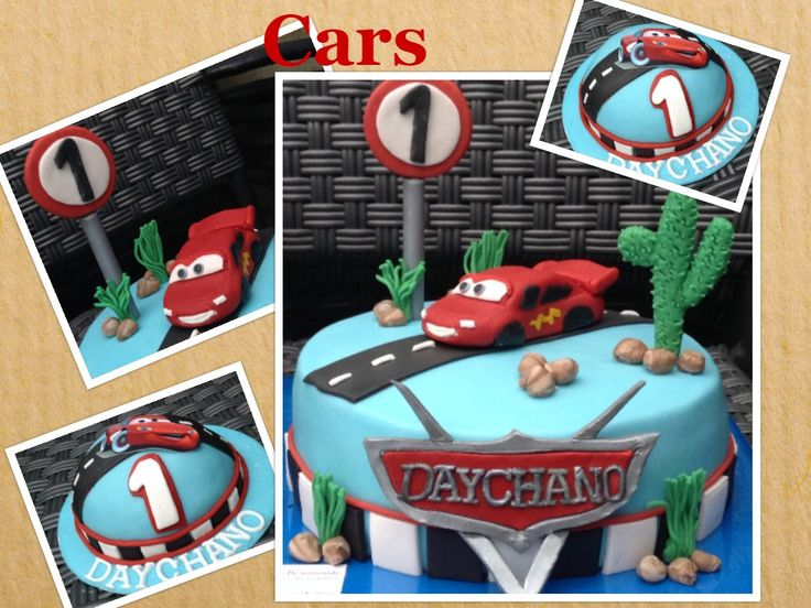 Cars taart met bliksem McQueen en bijpassend meppertje. / Cars cake with lightning McQueen and a smash cake.