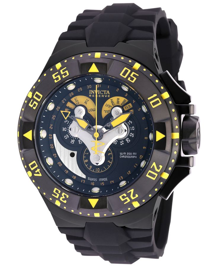 Invicta Men's Chronograph Reserve Excursion Black Polyurethane Strap Watch 50mm 18556 - Men's Watches - Jewelry & Watches - Macy's