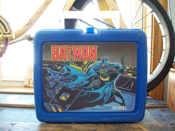 1991 Batman Lunch Box, Vintage DC Comics by Thermos, Blue Plastic Lunchbox on Etsy, $15.00