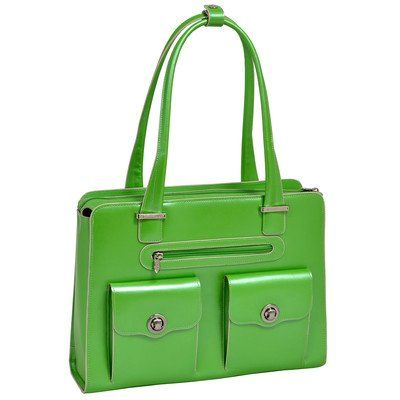 McKleinUSA VERONA Leather Fly-Through Checkpoint-Friendly Ladies Briefcase for Laptop, Green (96621) Italian Leather. Two small front pockets with magnetic snaps. Built-in padded laptop sleeve that fits laptops up to 15.4?.. Tubular over the shoulder strap. Main compartment divided by secure zipper pocket. Front and back pocket for files. Includes Tablet Pocket. Interior organizer section for busi... #McKleinUSA #PersonalComputer