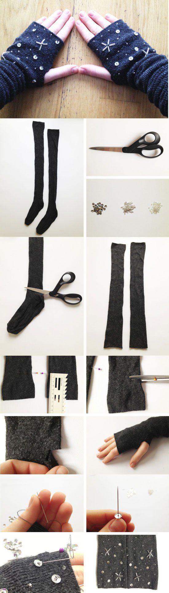 Crra tus guantes de invierno con medias de lana