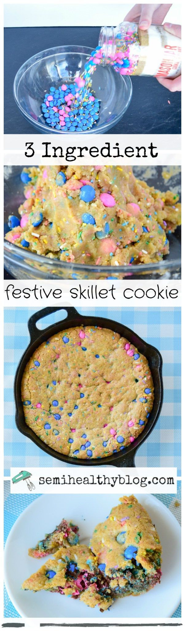 3 ingredient festive skillet cookie from mason cookie mix company via @semihealthnut at semihealthyblog.com