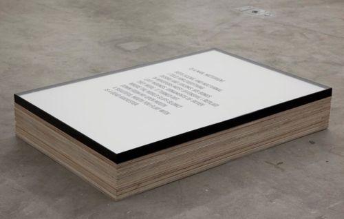 Untitled [slab] Naval ply, vinyl cutout, paper