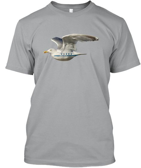 Seagull Airlines t-shirt on Teeshirt. Strange image of rare passenger seagull flying by.  #seagull #birds #bird #flyingbird #aeroplanes #airplanes #strangerthings #funny #animaltechology #planes
