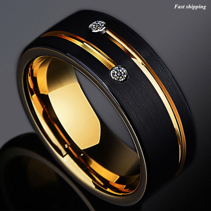 Details about 8mm black brushed tungsten ring gold grooved
