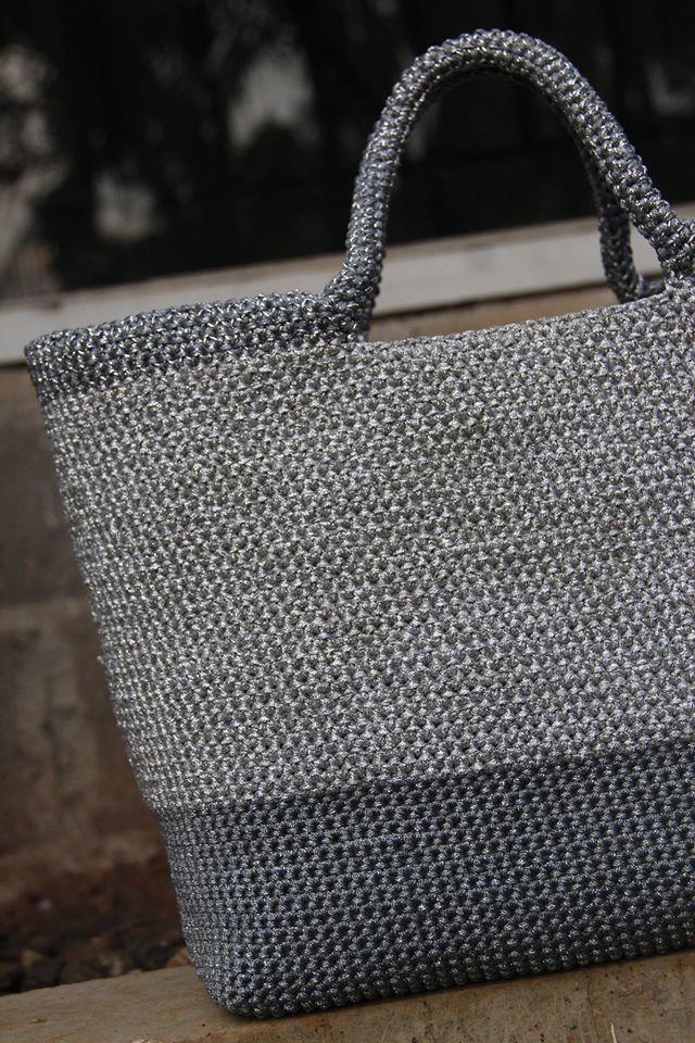 silver crochet bag