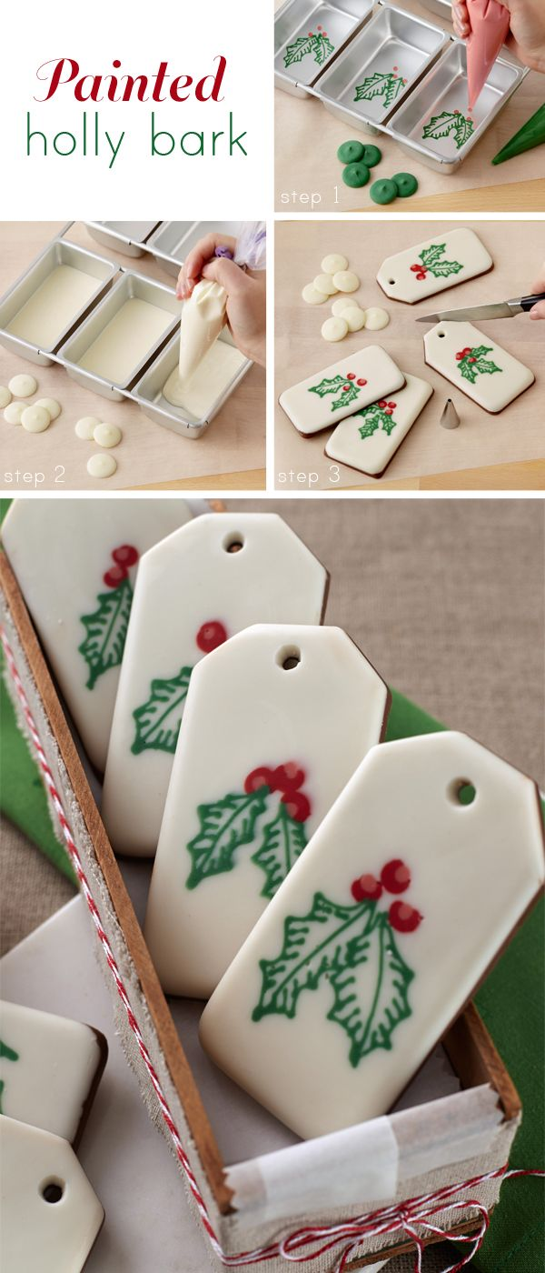 These edible gift tags are so sweet-add a drop of peppermint extract to the melted chocolate for a great taste!