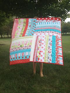 Sew Its Finished square stripe quilt
