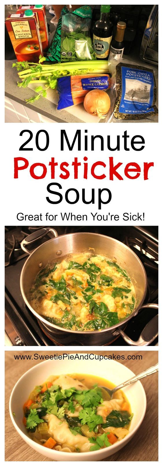 This potsticker soup is easy to make and packed full of nutrition. If you are looking for a soup for your family that rivals your favorite Chinese restaurant wonton soup, then you've come to the right place! A great soup for when you are sick! This potsticker soup freezes well and can even be made vegetarian style. Get the recipe at SweetiePieAndCupcakes.com!