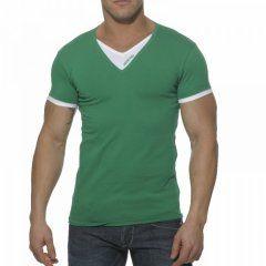 Addicted Double Effect V Neck Short Sleeved T Shirt Green/White AD121
