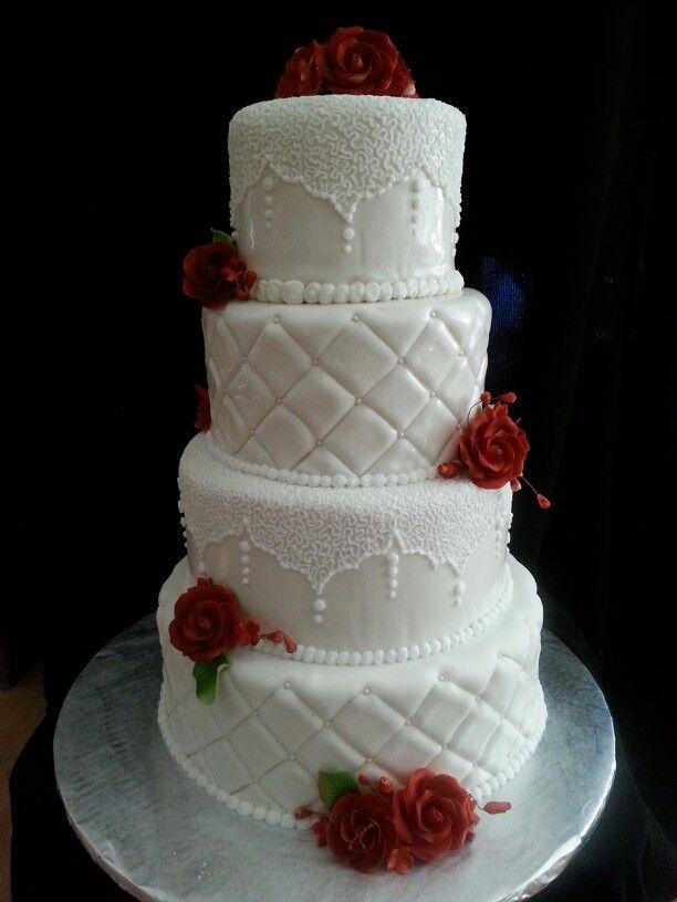 Maroon And White Wedding