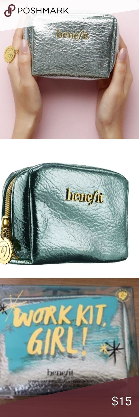 BENEFIT COSMETICS Work Kit, Girl! bag/pouch unused Benefit Cosmetics collectible makeup bag  Metallic blue-green color with gold zipper.  No longer selling this kit on Sephora website (it's sold out)  Original kit was $32  Great little pouch/bag/jewelry purse etc. Benefit Bags Cosmetic Bags & Cases