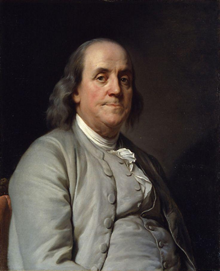 Benjamin Franklin ~ (17 Jan 1706 - 17 Apr 1790) ~  Artist:  Joseph Siffred Duplessis ~ (1725 -1802) Physicien et homme d'État, rédacteur de la déclaration de l'Indépendance, Benjamin Franklin appartient au monde des lettres par son activité journalistique, son almanach, Poor Richard's Almanack (1732-1757), pétri de maximes morales où allaient puiser tant de générations d'Américains, et par son Autobiographie (1794), remarquable par la justification de l'utilitarisme.