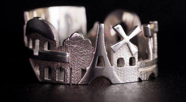 La joyera norteamericana Ola Shekhtman ha creado estos originales anillos que envuelven tu dedo con el skyline de ciudades icónicas como París, Londres, San Francisco, Amsterdam, Estocolmo, Berlín, Hong Kong y unas cuantas más. Todas disponibles en diversos materiales como bronce, plata, platino y oro. Visto en ThisIsColossal