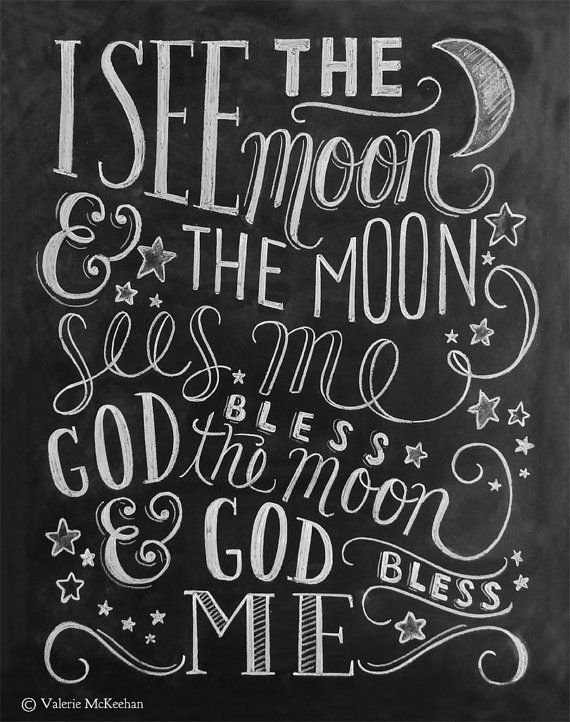 I See The Moon Poem Print Chalkboard Art Moon and door LilyandVal