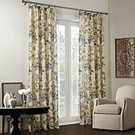 Country+Two+Panels+Floral++Botanical+Beige++Blue+Bedroom+Linen/Polyester+Blend+Blackout+Curtains+Drapes+–+GBP+£+159.88