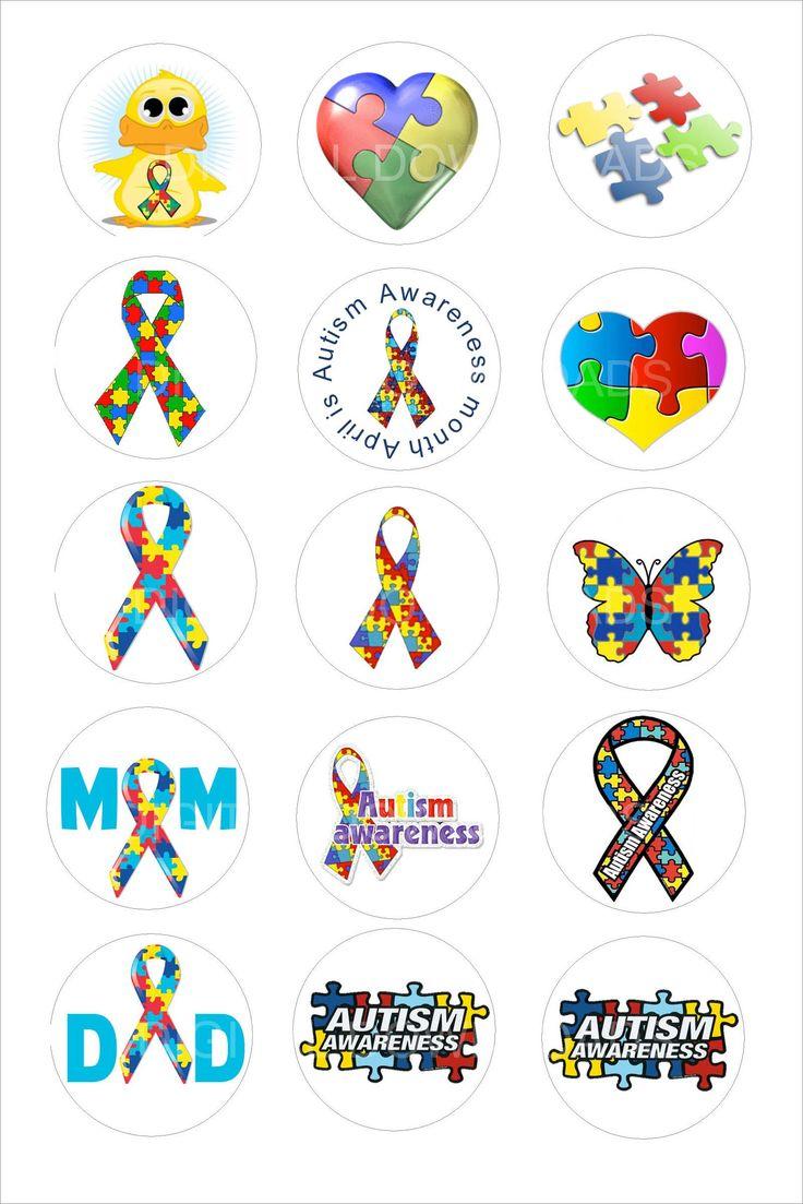 """bottlecap images   Autism Bottle Cap 1"""" Circle Digital Download, Mama Mouse Designs"""