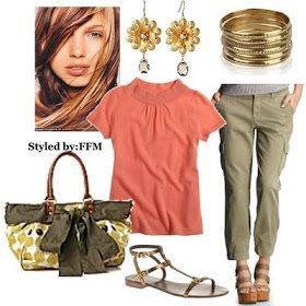 Summer Capri Outfit.  I like the color combination more than the actual clothing items.