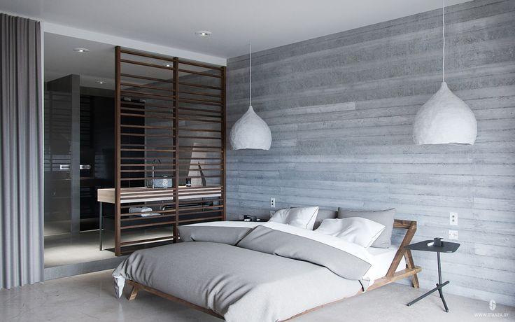 "Проект ""Glass Light"" от минской студии ""Станза"" в стиле лофт. | Project ""Glass Light"" by Stanza studio (Minsk, Belarus), style loft. #concrete #slab #design #interior #loft #wood #bedroom   #stanza_studio_minsk"