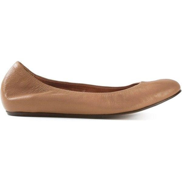 Lanvin classic ballerinas (582 CAD) ❤ liked on Polyvore featuring shoes, flats, brown, ballerina flats, round toe flats, brown ballet flats, flat ballet pumps and brown shoes