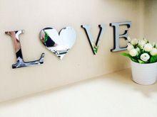 10cmx8cmx1.2cm( dik) bruiloft liefdesbrieven huisdecoratie engels alfabet 3d spiegel muurstickers home decor logo voor wand(China (Mainland))