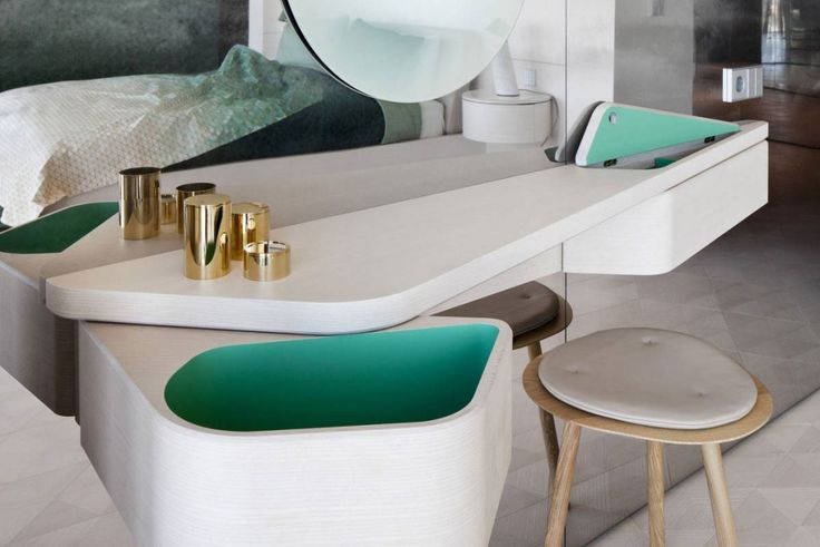 Apartment: Stylish Ritz Apartment in Almaty, Kazakhstan by COORDINATION, Cool Dressing Table in White Finish with Turquoise Inside and Unique Storage also Wooden Chair