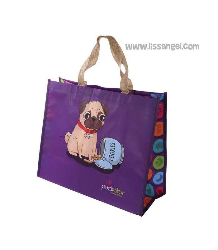 Esta #bolsa de la compra reutilizable es tan cuqui que la utilizarás para todo. Un divertido #perro #carlino pone cara de circunstancia al tener un frasco abierto repleto de galletas... ¡Ñam!  #perros #pug #bolsas #totebag #carlinos