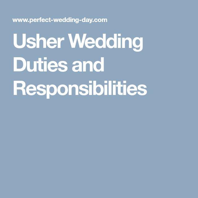 Usher Wedding Duties and Responsibilities