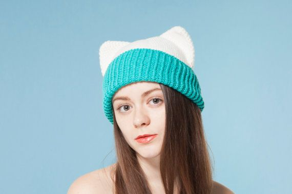 White Cat Hat with Ears Crochet Animal Hat Blue by OneHatStore