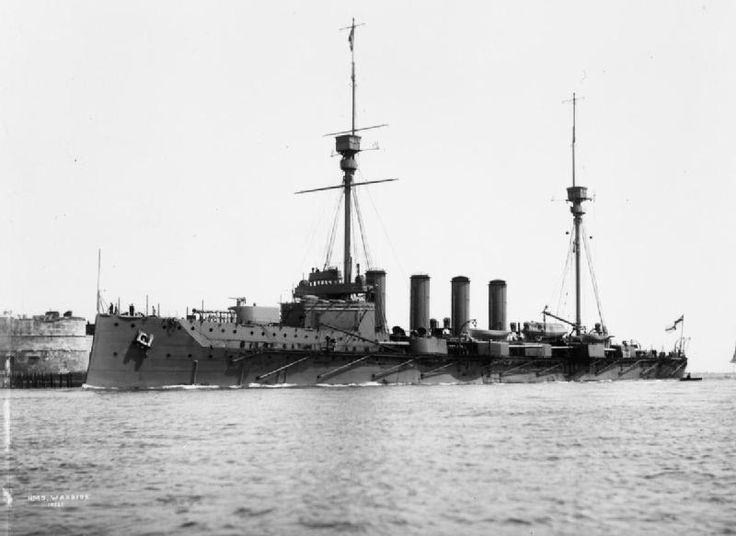 9.2 in armoured cruiser HMS Warrior, lead ship of her class, was one of three of the type lost at Jutland in 1916: heavily damaged on 31 May, she foundered under tow the next day.