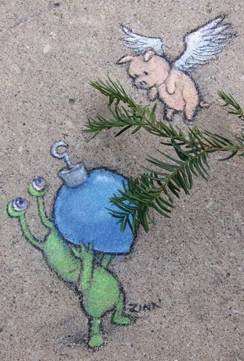 David Zinn local Ann Arbor artist, very cute and whimsical: