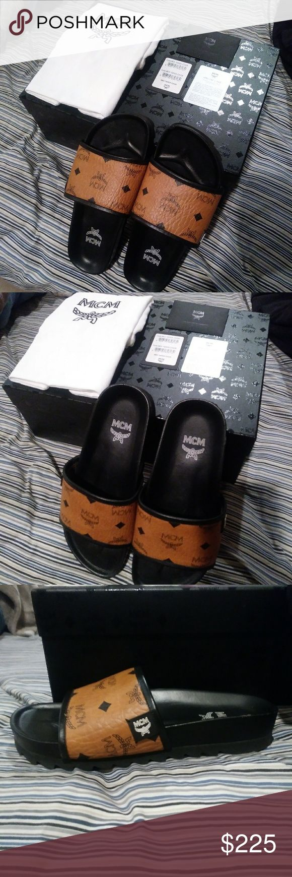 *Authentic MCM Slides* Authentic MCM Viestos Slides Size 38. I ordered them from the actual MCM website. Although I love them sadly they are too small. Small flaw on the tip of right shoe but barely noticeable when worn. Comes with OG box, care cards, wrapping and ribbons. Please refer to all pics and let me know if you have additional questions ☺ MCM Shoes Slippers