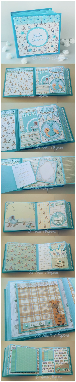 Baby Boy Scrapbook Album #baby #scrapbook #album #keepsake #handmade #scrapbooking #diy #babyboy #memorybook
