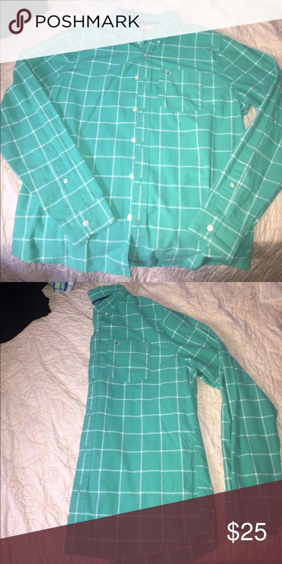 Checkered mint green shirt BRAND BRAND new I just bought it and I took the tag off because it was a gift and I couldn't return it (boyfriend said it was too big) Hollister Shirts Dress Shirts