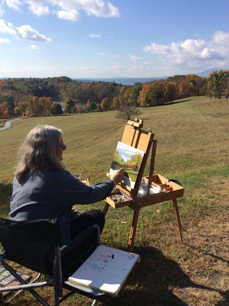 Plein air artist captures the view @Olana #art #artist #paint #olana #hudson