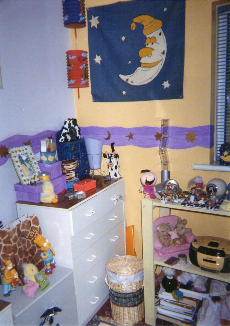 90s room - moon and stars interior design, magic 8 ball, Simpsons stuff, yellow boom box and bubble light machine x