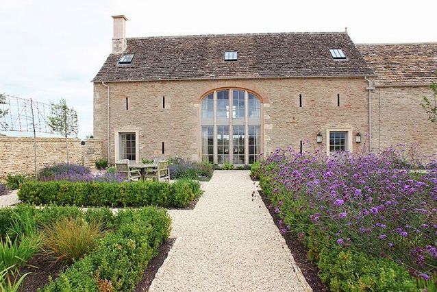 Eye catching barn conversion and formal garden