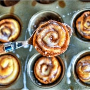 These 4 ingredient mini cinnamon buns take less than 20 minutes and have NO yeast!
