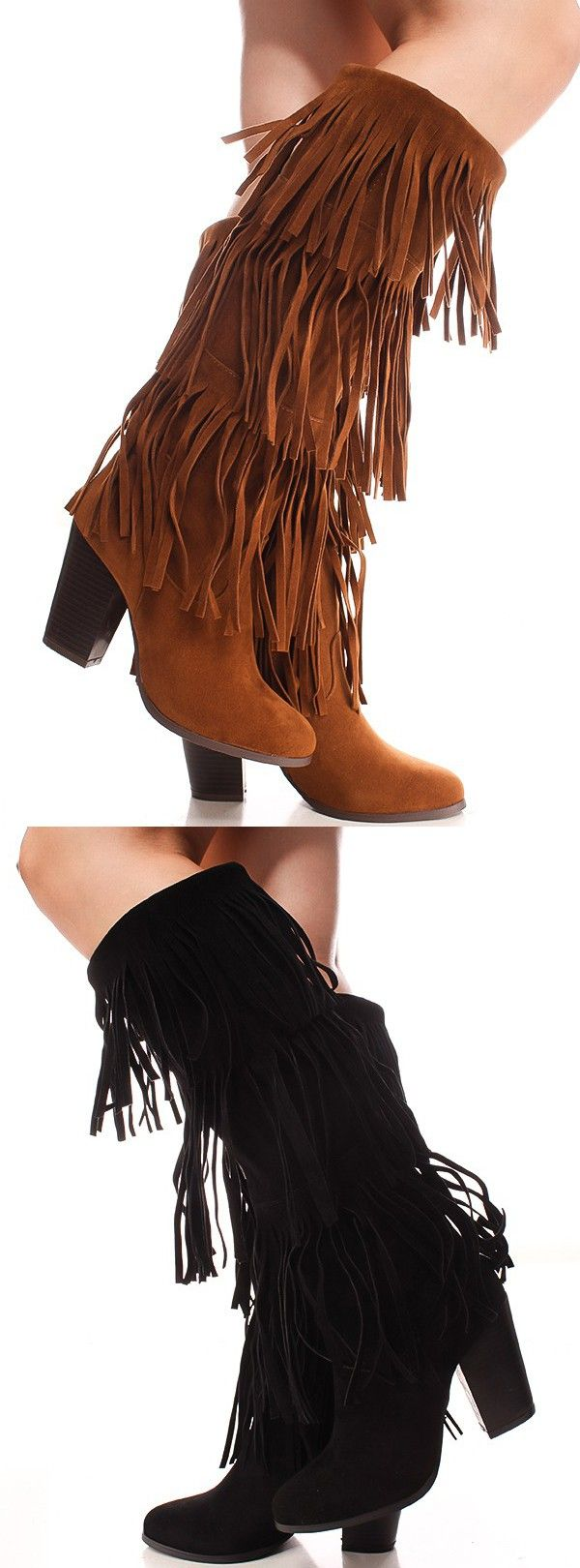 Are you fringe-worthy? These are some sexy vegan suede platform boots featuring a chunky heel, three layers of fringe, and a full-length side zipper closure.