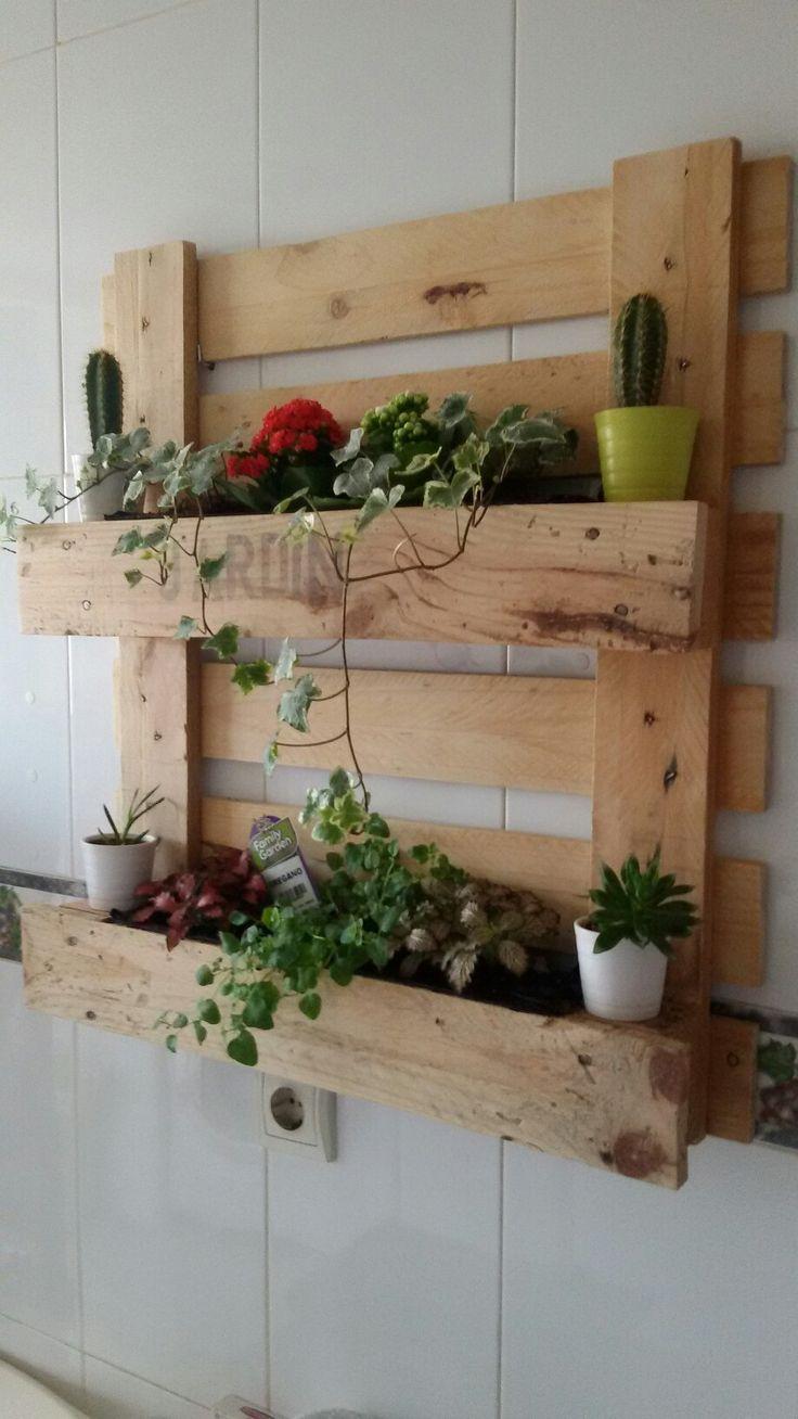 Jardín vertical con palé...en la cocina.