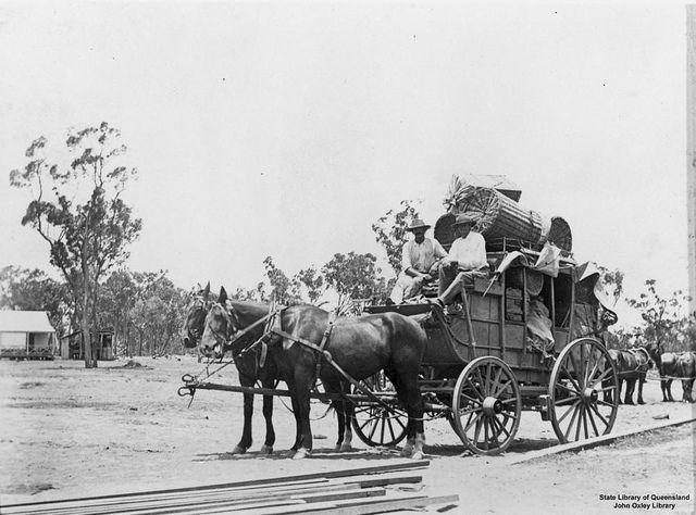 Stagecoach at Almaden, Queensland, 1904