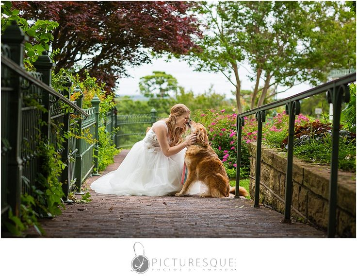 Bridal session at the Gilcrease Museum with the bride's golden retriever.