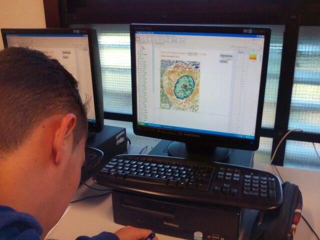 Oscar usando la Maquina para calcular el área del núcleo de la célula con una imagen en micras.