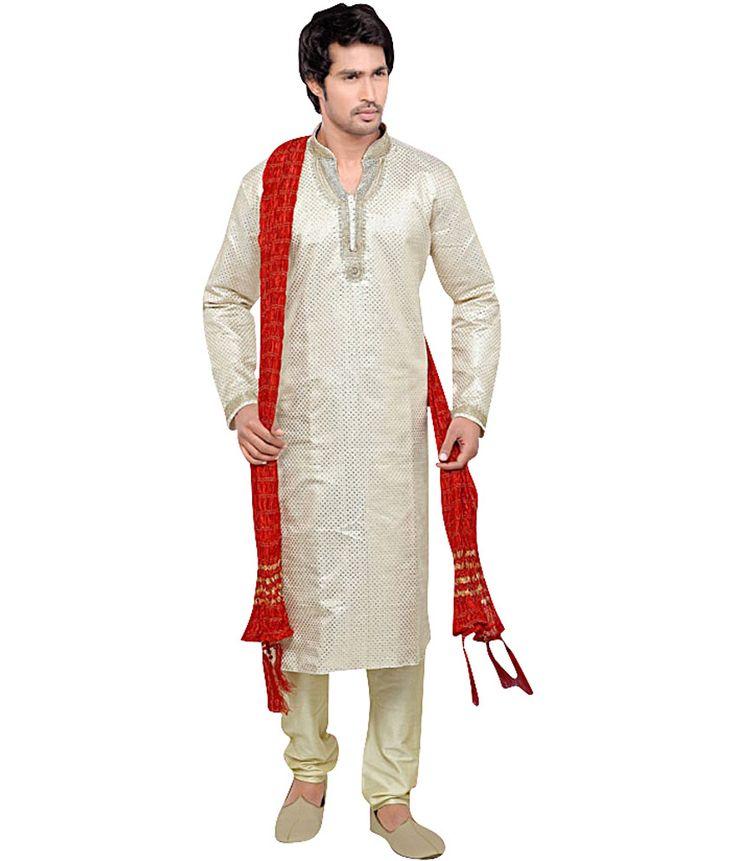 Ethnic White Silk Blend Full Kurta Pyjama Sets