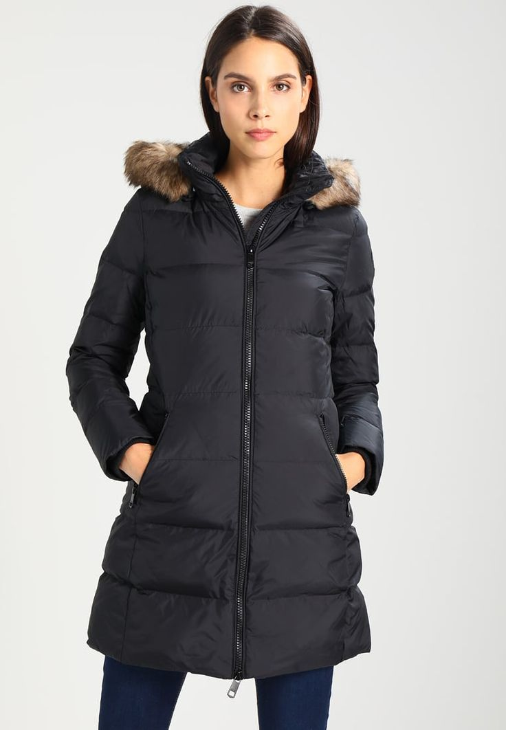 Tommy Hilfiger NEW NINA - Płaszcz puchowy - black - czarna długa kurtka damska  #kurtka #kurtkadamska #długakurtka #jacket #jacken #abrigo #chaquetas