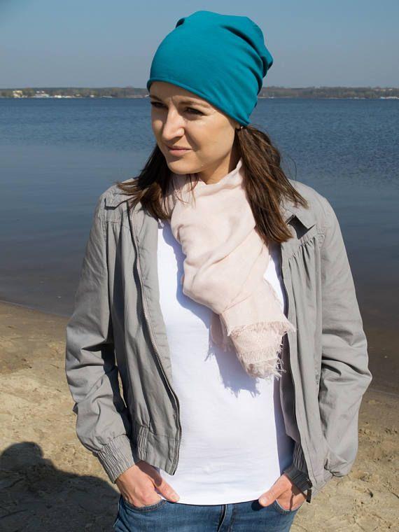 Slouchy beanie women lightweight girl beanie hats turquoise