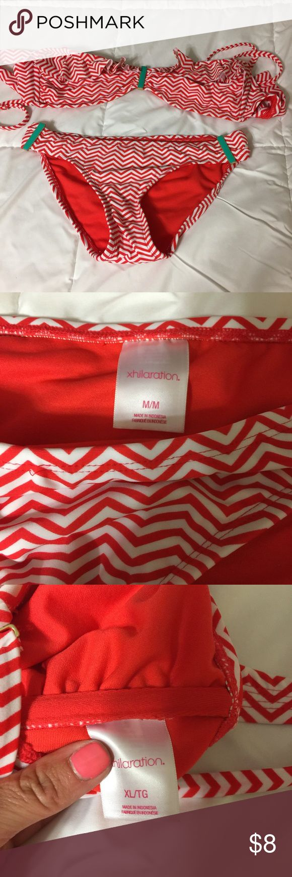 Red & White Chevron Bathing Suit The top is an XL and the bottoms are a medium. Swim Bikinis