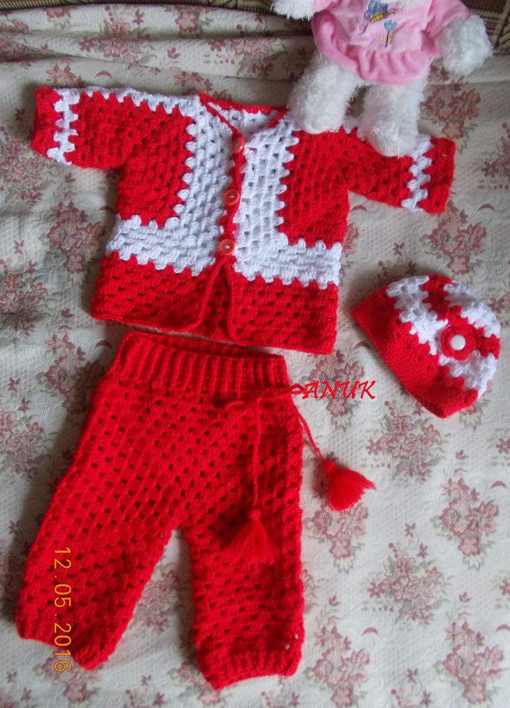 Crochet baby pants, jacket and hat.
