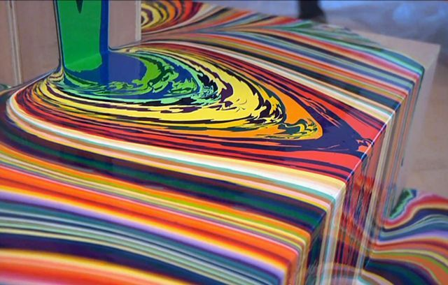 Holton Rower - pouring layers of paint onto 3d objects