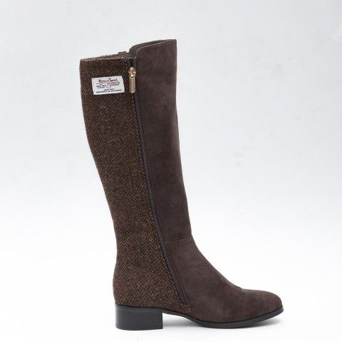 Coffee #HarrisTweed Knee High Boots -	Genuine Harris Tweed hand woven in the Outer Hebrides, with the Orb mark certifying every pair. -	Flexible boot shaft, with zip fastening -	Calf height 38cm (measures from top of the heel to top of the boot) -	Heel height 3cm -	Sheepskin, suede and Harris Tweed are delicate materials which should be worn with care and nurtured to have the longest wear.